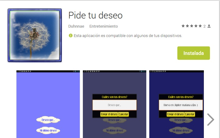 Aplicación android make your wish - Android app developer Duhnnae